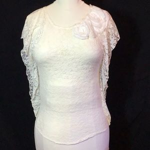 Sheer Lace Wing Ruffle Sleeved Blouse 🌷
